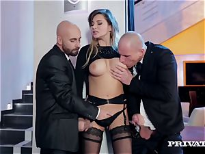 Anna Polina takes care of two nasty folks