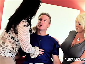 Alura Jenson cougar threesome poke with Brandi May
