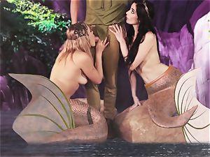 molten mermaid threeway with Aiden Ashley and Mia Malkova