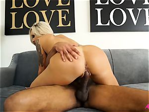 chesty towheaded Nina Elle taking a thick ebony man-meat