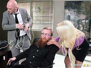 Bank robbing honey Bridgette B drills in front of the boss