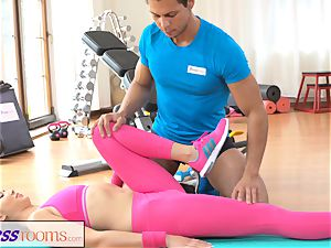 FitnessRooms Gym schoolteacher pulls down her yoga pants