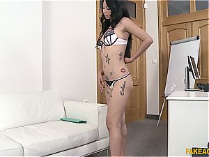 Pierced Thai cunny gets lots of exploitation in the office