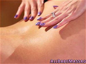 huge-boobed milf licks masseur