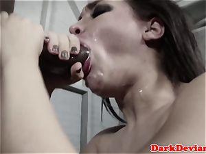 obedient Gabi Paltrova facefucked with big black cock
