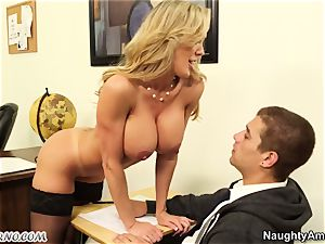 youthful boy shag his big-chested adult schoolteacher during a lesson