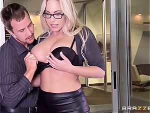 Julia Ann and Olivia Austin bang the manager together
