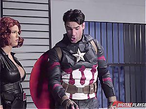 Captain America submerges ebony Widow in his superhero spunk