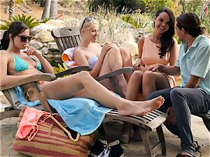The Getaway Pt trio showcasing stunning lesbos Dillion Harper and Charlotte Stokely
