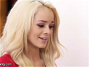 Elsa Jean and Jill Kassidy have fun some warm oral games