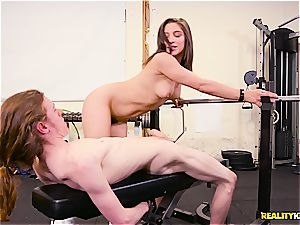 Abella Danger works out a lean fellow