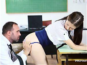 kinky schoolgirl in micro-skirt gets her slim rump pulverized by her professor