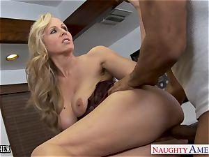 blond instructor Julia Ann drilling a big black cock