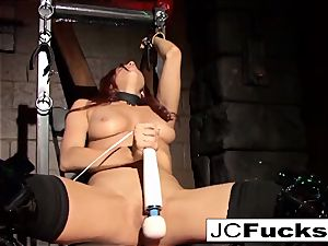 tied hottie sates herself while still chained up