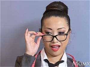 mommy asian humungous mounds cougar orgasms on yam-sized man sausage