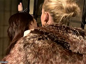 Kathia Nobili in hairy jacket torturing a steaming stunner