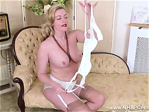 blond milf unwraps off retro lingerie smashes sweet cooch