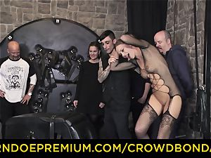 CROWD restrain bondage - extraordinary sadism & masochism ravage wheel with Tina Kay