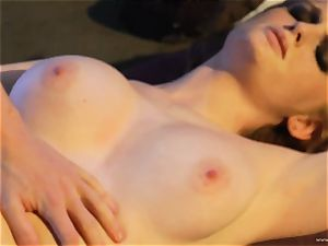 sensuous Faye Reagan wraps her lips chubby this rock hard man-meat