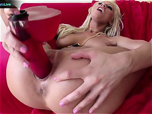 Tanya James using thick dildos into her wet cooter