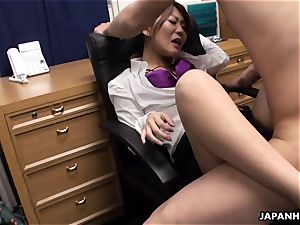 nailed in the office in her super fur covered wet pussy