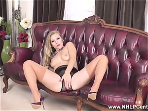 platinum-blonde disrobes off lingerie and solos in nylons and heels