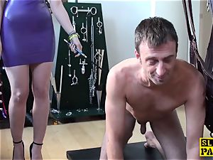 brit domme predominated and made to blow