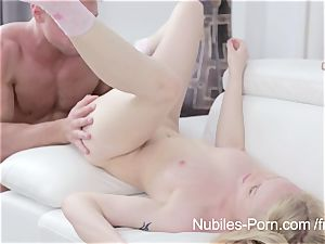 Nubiles pornography - spunk dribbling down blond hotties face