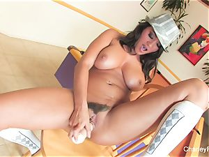 Charley chase's sexy solo session on a bar chair