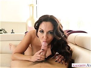 big-boobed female Ava Addams with enormous bodacious jugs takes her husband hard's bone