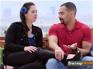 Chrissy and Craig are welcomed by mischievous hostess to the sway mansion