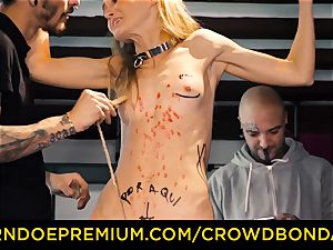 CROWD bondage petite sub nympho fetish gang intercourse