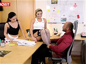 Stepdaughter joins parent in boinking the office secretary