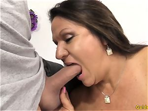 elder dark-haired Takes a pecker in Her throat and muff