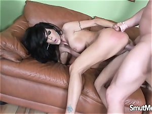 black-haired mummy takes a boinking and jizz in her throat