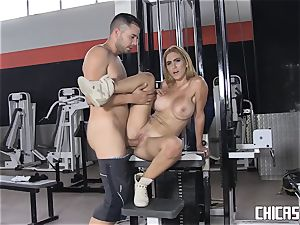 Chicas Loca - huge-boobed Latina boned at the gym