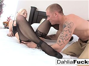 hard-core fuck-fest on a big bed with Dahlia Sky and Richie dark-hued