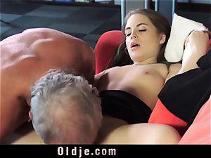 Russian nymph deepthroat The manstick of an aged granddad