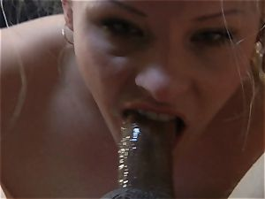 smallish platinum-blonde cuckold shows her suck off and fellate