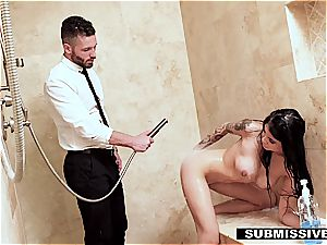 chinese stepdaughter punished by daddy's chisel and belt