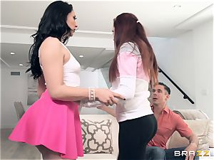 huge-boobed large rump Mandy Muse sits her butt on Micks manstick