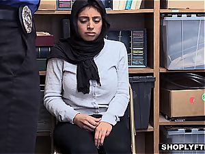 meaty boobed hijab teenager gets a facial cumshot in the shop backoffice