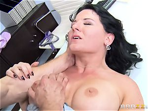 filthy office chick Casey Cumz plumbs on her desk
